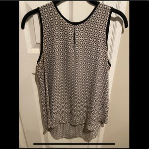 Grey and Black Printed Blouse Sleeveless Top